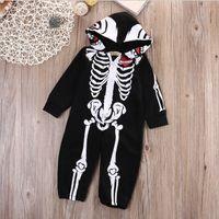 Wholesale Skull Onesie - Baby Rompers Infant Halloween Clothes 2017 Fall Autumn Skull Arrow print Long Sleeve Jumpsuit Newborn Onesie HX-695