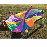 Wholesale 8 Handles m Kids Play Rainbow Outdoor Parachute Multicolor Nylon Kids Toy Parachute Suitable For people Outdoor Fun Sports
