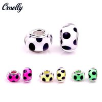 Европейские бусы Cute Dot Glass Pandora Jewelry Making Handmade Lampwork Pandora Beads Charms Сделай сам браслет оптом Дешевые