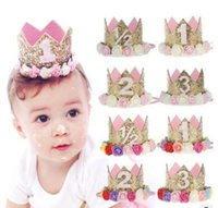 Princesse Ange Hat Headband Sequins Gold Pink Flowers Décorations de fête de la Couronne Bandeau pour bébé et fille Head Wear Photo Props
