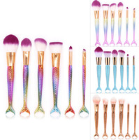 Wholesale Wholesale Colorful Synthetic Hair - 3set Mermaid Makeup Brushes Sets 3D Colorful Professional Make Up Brushes Foundation Blush Cosmetic Brush Set Kit Tool 1lot=3set