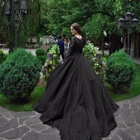 Vintage Black Gothic Wedding Dresses 2017 Long Sleeves Beads Lace Scoop Neck Ball Gown Новые 50S Bridal Gowns Non White Robe De Mariee
