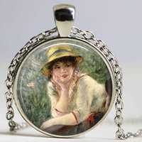 Wholesale Famous Paintings Renoir - RENOIR necklace Glass Custom - Luncheon of The Boating Party Jewerly Renoir Famous Painting Art necklace Cabochon pendant