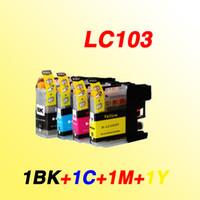 ingrosso fratelli inchiostro-Set 4 colori LC103 LC103XL LC 103XL 103 con cartuccia a getto d'inchiostro compatibile con chip Cartucce d'inchiostro per stampante Brother MFC-J4310DW / J4410DW / J4510DW