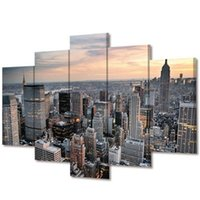 Wholesale Handpainted Huge Wall Art Large - Modern Simple Huge 5pcs Unframed New York Large Modern Canvas Wall Art Oil Painting Room Decoration New