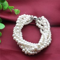 Wholesale Dinner Plates Free Shipping - In 2017 new high-end wedding dinner women's fashion natural pearl high-grade fashion jewelry bracelet with free shipping a688