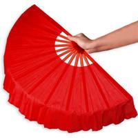red black hand handels venda por atacado-41 cm Preto Sólido Dobrável Vermelho Mão Ventiladores Artesanato Dance Performce Lembrança Do Partido de Casamento Decoração Suprimentos ZA4203