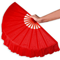 Wholesale Decoration Fan Party - 41cm Solid Black Red Folding Hand Fans Craft Dance Performce Wedding Party Souvenir Decoration Supplies ZA4203