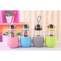 ingrosso illuminazione delle bottiglie di vetro-480ML nuova forma di lampadina bulbo borraccia in vetro creativo moda acqua tazza con corda per bambini tazza di acqua potabile spedizione gratuita