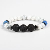 Wholesale Rings Design For Mens - New Designs Mens Bracelets Wholesale 10pcs lot 8mm White Howlite And 12mm Lava Stone Lucky Energy Bracelets For Men