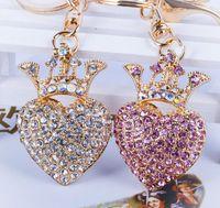 Wholesale Key Chain Crown - Creative couple heart shape key chain Diamond heart with crown metal key ring Lovers fashion accessories
