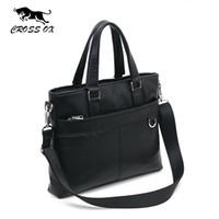 "Wholesale Leather Laptop Satchel For Men - Wholesale- CROSS OX 2016 Spring New Arrival Men's Genuine Leather Briefcase Handbags For Men Portfolio File Holders 14"" Laptop Bag HB538M"