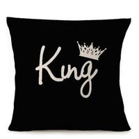 Wholesale king pillow resale online - King Queen Love Couple Cushion Cover Thick Linen Cotton Pillow Cover Crown English Letter Pillow Case X45cm Bedroom Sofa Decor