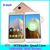 C7 5 Zoll MTK6580 Quad Core Smartphones 1GB RAM 8GB ROM Show Fake 64GB 4G WCDMA 3G freigeschaltete Android Handy Handy