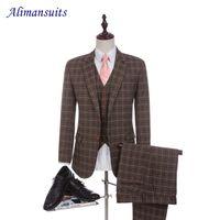 Wholesale tailored jackets - Wholesale- Custom Made New Wool Crown Plaid Men Suits Slim Fit Wedding Suit For Men's Tailor Made Suit Groom Man Tuxedos(Jacket+Pants+Vest)