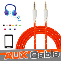 Braided AUX 3.5mm Stereo Auxiliary Car Audio Cable Extension du câble 3ft 1M Wired Male to Male pour Smartphone iPod iPad MP3 Headphone Speaker