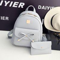 Wholesale New Backpacks For Girls - Wholesale- 2017 New Designer Women Backpack For Teens Girls Preppy Style School Bag PU Leather Backpack Ladies High Quality Black Rucksack