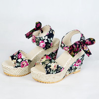 Wholesale Thick Black Wedges For Women - Korean Style Fashion Floral Printing Thick Crust Creepers Slope Heels Platform Sandals Shoes For Women Big Bowkot Decorated