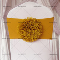 Wholesale Sunflower Chair - 100pcs Free Shipping Gold Royal Bule Red Silver Big Sunflower Spandex Chair Band Bow For Wedding Decor