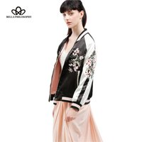 Wholesale Embroidered Pads - Wholesale- 2016 spring autumn new both sides Reversible flowers embroidered stand collar black pink bomber padded jacket real photo