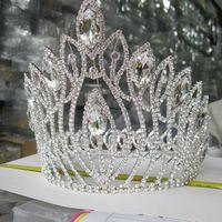 grands diadèmes de cristal achat en gros de-Grande mariée diadème couronne nouveau cristal de luxe femme bijoux de cheveux strass couronne de mariage hairwear bandeaux accessoires de cheveux de mariée headpieces