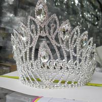 grandes coronas de strass al por mayor-Novia grande Tiara Crown New Luxury Crystal Woman Hair Jewelry Rhinestone Corona de la boda Hairwear Headbands Accesorios para el cabello nupcial Headpieces