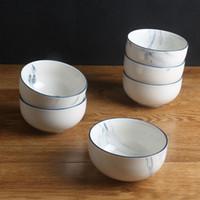 Wholesale Porcelain Soup Bowls - 6inch Marble grain ceramic bowl dinnerware rice bowl kitchen tools soup noodle salad bowl food tray