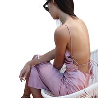 Wholesale Sexiest Satin Slips - Sexy Dress Women 2017 Summer Satin Slip Backless Sleepwear Style Vestidos Party Club Wear Split Lace Up Spaghtti Strap Dresses