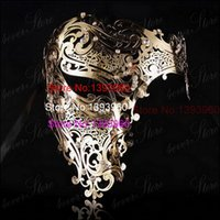 Wholesale Large Feather Masks - Wholesale-gold skull half face mask Spellbinding silver Masquerade Halloween scary mask Unisex Clear Rhinestones Large red laser cut mask