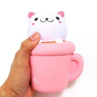 Wholesale New Toys Pussy - New Arrival Jumbo Squishies Kawaii Cup Cat Pussy Squeeze Cute Animal Slow Rising Scented Bread Cake Kid Toy Gift Doll
