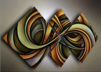 Wholesale Contemporary Art Fashion - 4PCS Hand Painted Contemporary Abstract Wall Decor Art Oil Painting. Multi customized sizes Framed Available caixilin