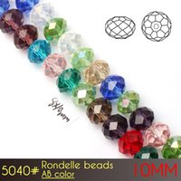 Wholesale Red Faceted Rondelle - DIY Decoration Making Cheap Price Machine Cut Faceted Clear Color Crystal Glass Rondelle Beads 10mm AB colors A5040 72pcs set