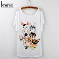 Wholesale Cat Lady T Shirt - Wholesale-New 2016 Fashion Tshirt Femme Vintage Summer T Shirt Women Clothing Ladies Tops Animal cat Print T-shirt Printed White Plus Size