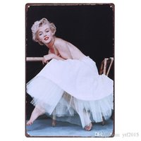 Wholesale Monroe in White Dress Vintage Tin Signs X30CM Metal Iron Plate House Wall Decor Tin Plaques Cafe Club Home Office Lounge Bar