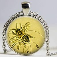 Wholesale Key Ring Chain Link - Honeybee Keychain Honey Bee Cabochon Glass Keyring Honey Bee Jewelry Beekeeper Gift Apiarist Gift Honey Bee Key Chain Key Ring