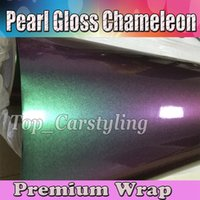 Vert à pourpre Gloss Rainbow drift Chameleon Vinyl Car Wrap Film avec sans bulle d'air / relâchement Covering styling foil 1.52x20m 5X67ft