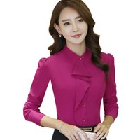4d031e8ffa4b3 Elegant ruffles women shirt OL fashion formal stand collar long sleeve slim  chiffon blouse office ladies plus size work wear tops