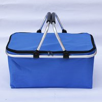 Wholesale Oxford Basket - Outdoor Camping Folding Cooler Insulated Picnic Baskets 600D Oxford  Aluminum Frame Handles Foldable Shopping Basket ZA3229