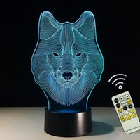 Wholesale Touch Control Night Light - Touch Remote Control Cool 3D Wolf Head Night light LED 7 Colors Change Acrylic Desk Lamp Gift For Children