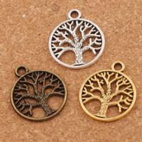encantos al por mayor-Árbol de la familia de la vida encantos colgantes 200 unids / lote plata antigua / bronce / oro joyería DIY L463 20x23.5 mm caliente