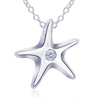 "Wholesale Wholesale Personalized Diamond Silver Jewelry - Necklace Nice Jewelry Alloy Personalize Copper Sterling Silver Hermosa Small Chain Small Sea Star Diamond Chain 18"" INCH XL000395"
