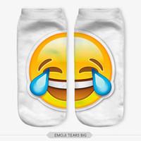 emoji calcetines hombres al por mayor-Al por mayor- Harajuku EMOJI calcetín Imprimir EMOJI spot Calcetines 3D Digital Print Mujeres Hombres Divertidos calcetines para el tobillo