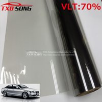 Vente en gros- 50x300cm Carré Gris Fenêtre Carré Film Front Side Film vitré VLT 70% Roll 1 PLY Car Auto House Commercial Solar Protection