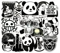 Wholesale Carbon Wholesalers - 100 pcs Car Sticker Black and White Skateboard Graffiti Decal Laptop Bicycle Motorcyle Car Stying Doodle DIY Cool Stickers