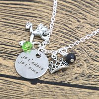 Wholesale Wholesale Je - 12pcs lot Princess and the Frog Inspired Necklace je t'adore je t'aime Love French necklace crystals