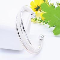 Wholesale Bevel Bracelet - Wholesale- Wholesale Fashion Jewelry Free Shipping Silver Plated Bangles Cuff Bracelets Bevel Mesh Bracelet  awqajnxa Hot sale