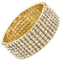Wholesale wholesale box sets china for sale - Hot Sale pieces Six Rows Crystal Diamante Rhinestone Elastic Bridal Bangle Bracelet Stretch Wedding Accessories for Women