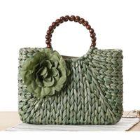 Wholesale Traveling Tote Bag - 2017 Women Weave Straw Flowers Summer Beach Bags Designer Handbags High Quality Ladies Casual Beading Traveling Tote Bags C57