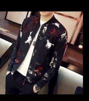 Wholesale Korean Fashion Wear Men - Autumn men's Slim-type fashion stand collar Korean tide jacket new print print jacket spring wear Size: M, L, XL, XXL, XXXL, cotton material