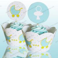 bebek arabası parti malzemeleri toptan satış-Toptan-Bebek arabası kek sarmalayıcılar çocuklar için bebek duş çocuk dekorasyon doğum günü partisi iyilik, PRAM fincan kek yonca malzemeleri seçer